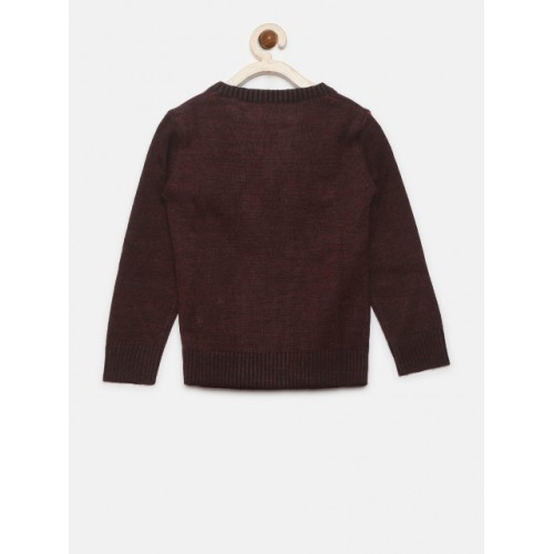 Gini and Jony Maroon Solid Front-Open Cardigan