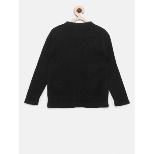 Gini and Jony Black Solid Front-Open Sweater