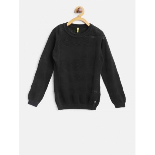 Gini and Jony Black Open Knit Self-Design Pullover