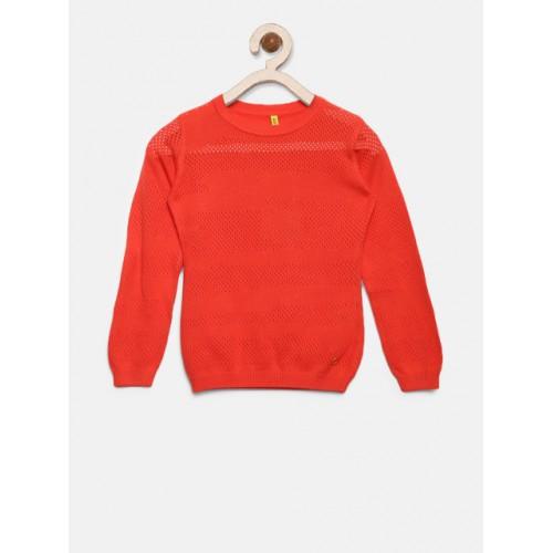 Gini and Jony Coral Orange Open Knit Self Design Pullover
