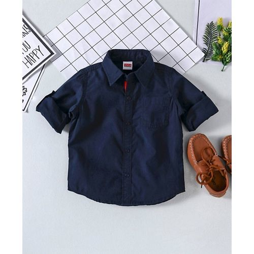 Babyhug Full Sleeves Solid Shirt - Navy