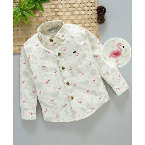 JASH KIDS Jash Kids Full Sleeves Cotton Printed Shirt - Lemon