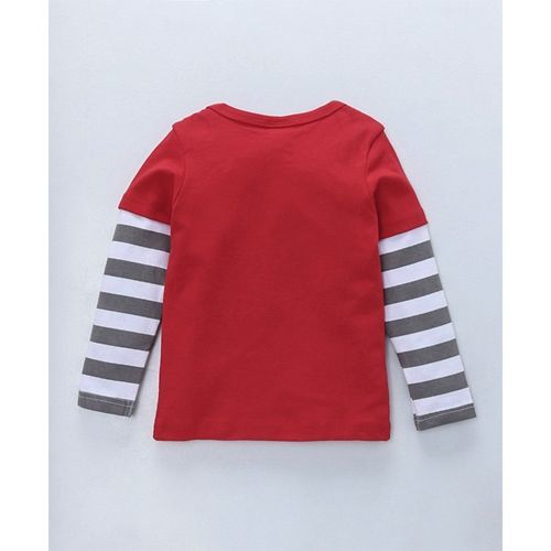 Kookie Kids Full Sleeves T-Shirt With Lion Print - Red