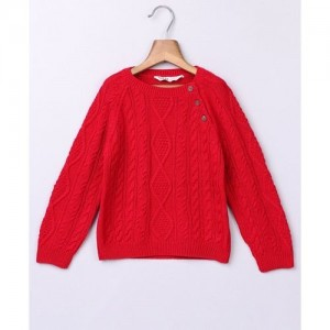 Beebay Full Sleeves Cable Design Sweater - Red