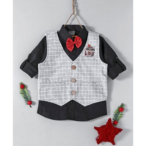 Rikidoos Shirt With Bow & Checks Waistcoat - Black & Grey