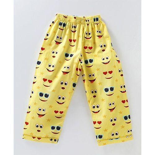 Knitting Doodles Emoji Print Night Suit - Yellow