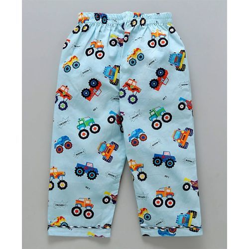Knitting Doodles Full Sleeves Monster Truck Print Night Suit - Light Blue