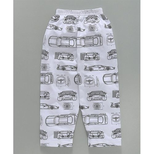 DoreMe Doreme Full Sleeves Night Suit Car Print - White