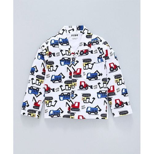Fido Full Sleeves Night Suit Construction Vehicle Print - White Blue