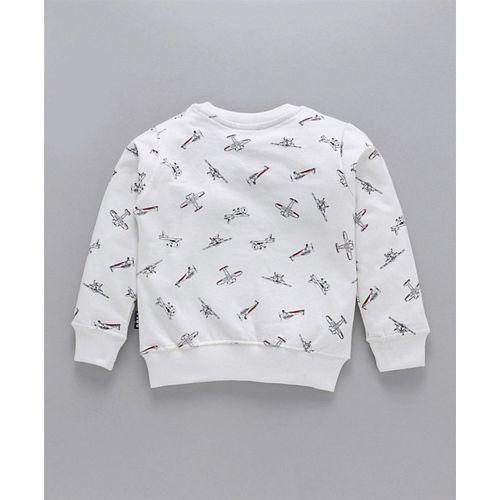 Fido Full Sleeves Night Suit Aeroplane Print - White