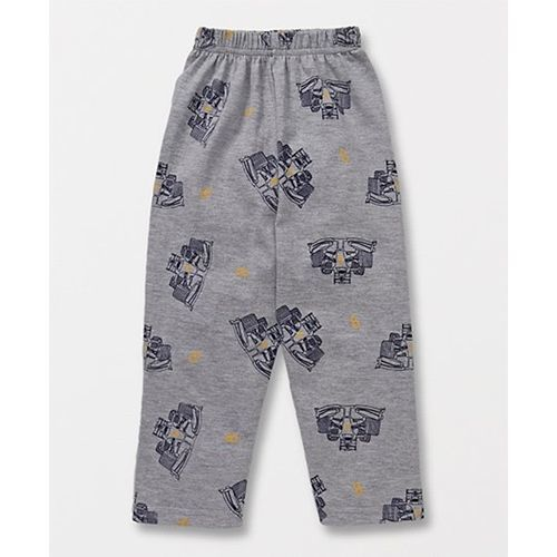 Fido Full Sleeves Night Suit Fast To Sleep Print - Navy & Grey