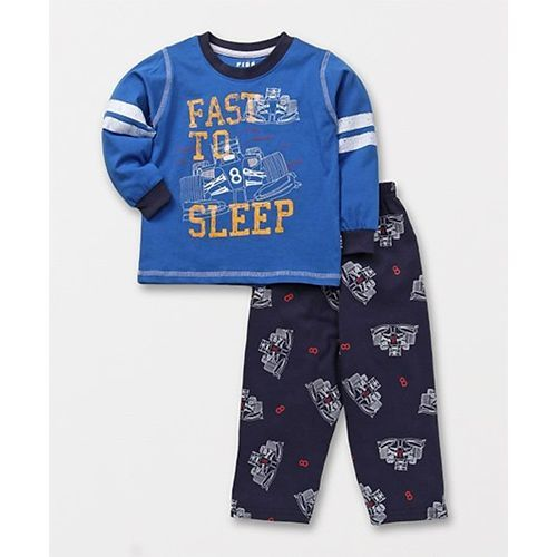 Fido Full Sleeves Night Suit Fast To Sleep Print - Blue
