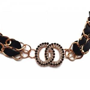 Vritraz Women And Girl Fashion Metal Black Color Waist Belt Waistband BlackBow