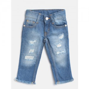 United Colors of Benetton Boys Blue Slim Fit Mid-Rise Mildly Distressed Jeans