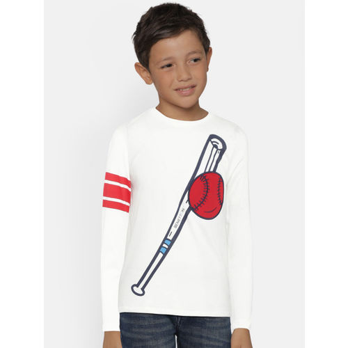 527bd9ed86 Buy United Colors of Benetton Boys White Printed Round Neck T-shirt ...
