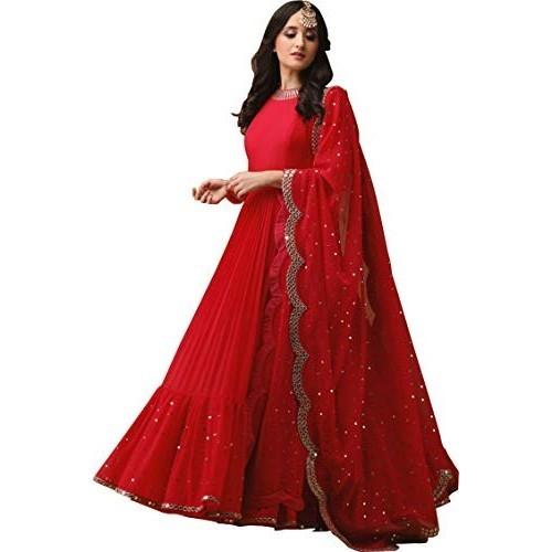 Wandar Beauty Red Embroidered skyblue Semi Stitched lehenga choli