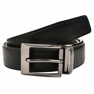 CREATURE Black & Brown Pu Lether Designer Military Buckle Formal Belt