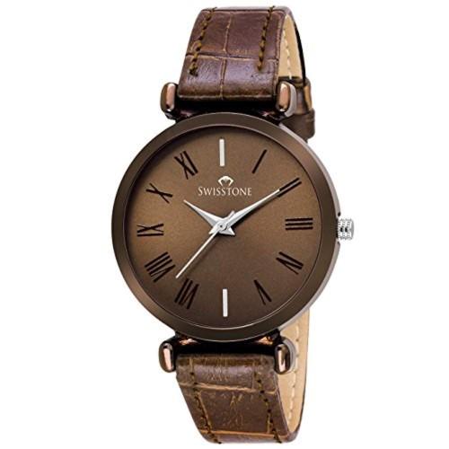 SWISSTONE Brown Leather Strap Analogue Women's Watch