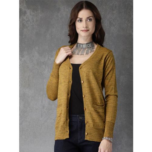 Buy Anouk Women Mustard Yellow Solid Cardigan Sweater Online