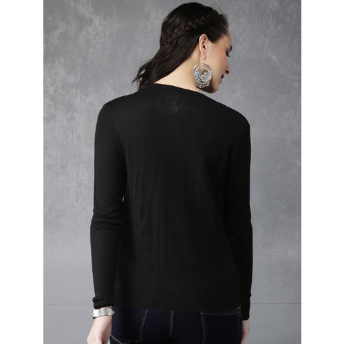 Anouk Women Black Embroidered Cardigan