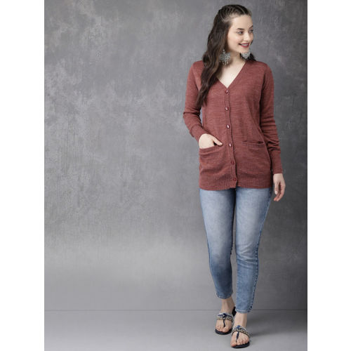 Anouk Women Rust Pink Solid Cardigan
