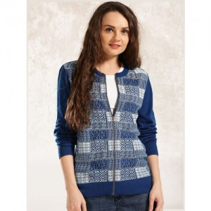 Anouk Blue Printed Sweater