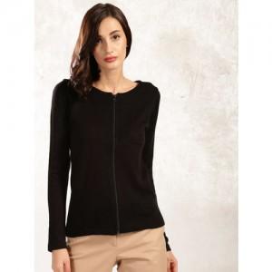Anouk Women Black Solid Cardigan