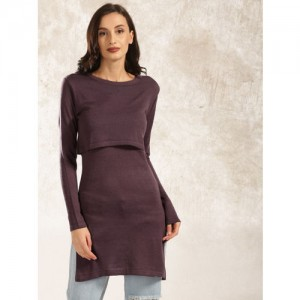 Anouk Women Purple Solid Layered Longline Sweater