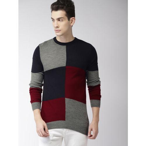 Harvard Men Grey Melange & Navy Blue Colourblocked Pullover