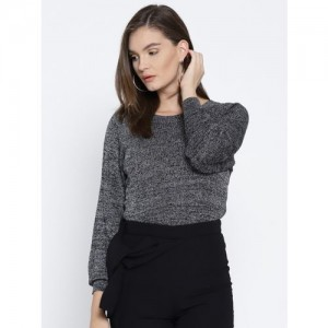 Only Solid Round Neck Casual Women Black Sweater