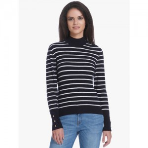 Only Striped High Neck Casual Women Blue Sweater