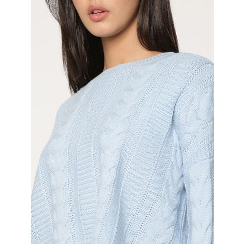 ONLY Women Blue Self Design Cropped Pullover