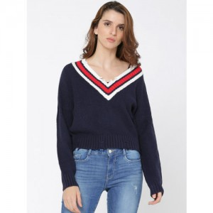 ONLY Navy Blue Cotton Solid Pullover Sweater