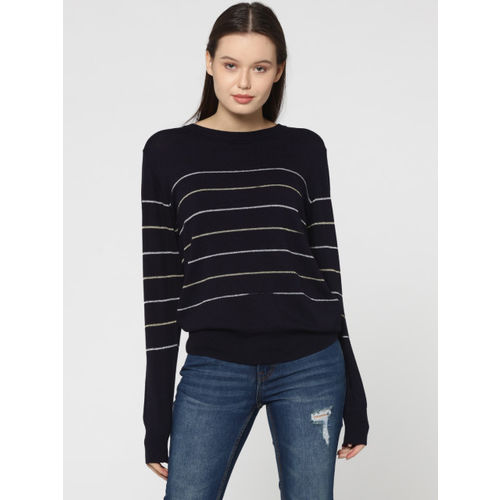 ONLY Women Navy Blue Striped Pullover Sweater