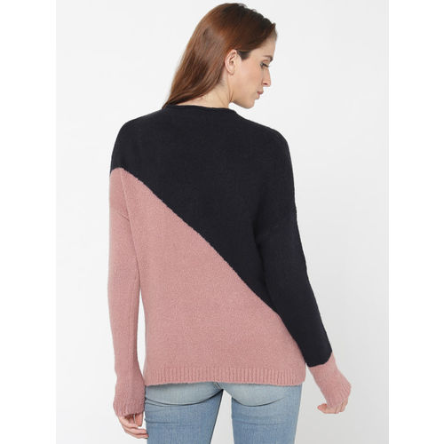 ONLY Navy & Pink Cotton Colourblocked Pullover