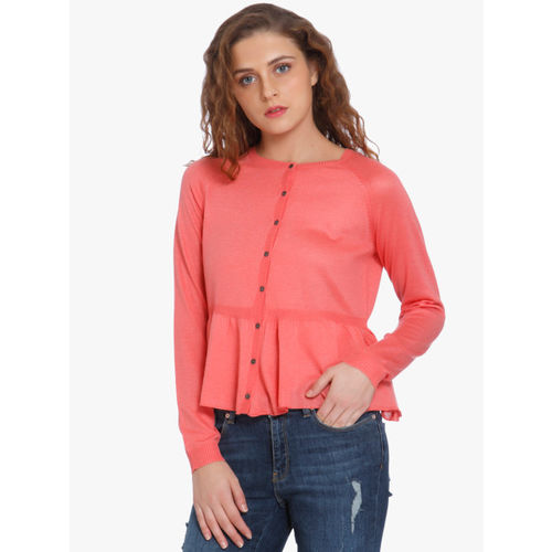 Only Self Design Round Neck Casual Women's Pink Sweater