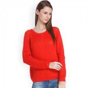 ONLY Women Red Solid Pullover Sweater