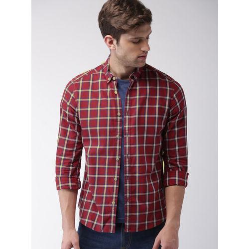 Harvard Men Red & Yellow Checked Casual Shirt