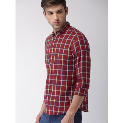 Harvard Men Red & Yellow Checked Casual Shirt