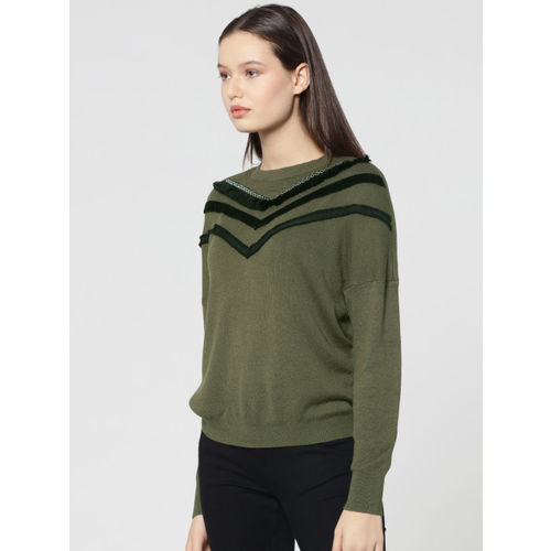 ONLY Women Olive Green Solid Pullover Sweater