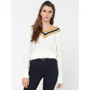 ONLY Women White Self Design Sweater