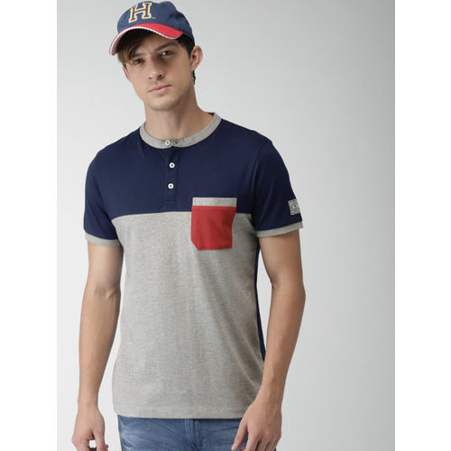 Harvard Men Grey Melange & Navy Colourblocked Henley Neck T-shirt