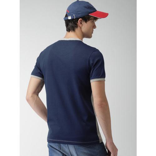 Harvard Men Grey Melange & Navy Colourblocked Henley Neck T-shirt