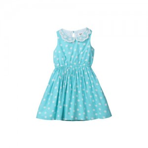 Beebay Girls Turquoise Blue Solid Fit and Flare Dress