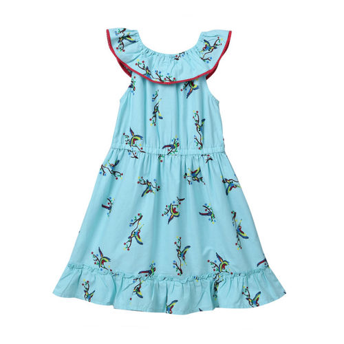 5ee09c2c49558 ... Beebay Infant-Girl 100% Cotton Woven Parrot Print Ruffle Dress (Turq,12  ...