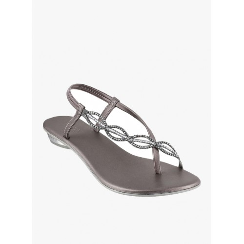 Mochi Grey Synthetic Party Wear Sandals