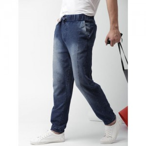 Harvard Men Blue Regular Fit Faded Denim Joggers