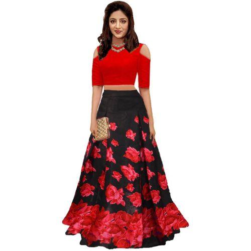 288958e1aeb Buy shelvinzas Floral Print Semi Stitched Lehenga Choli(Multicolor) online