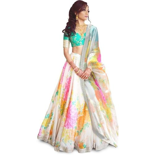 Zeel Clothing MultiColour Embroidered, Embellished, Digital Print Semi Stitched Lehenga, Choli and Dupatta Set