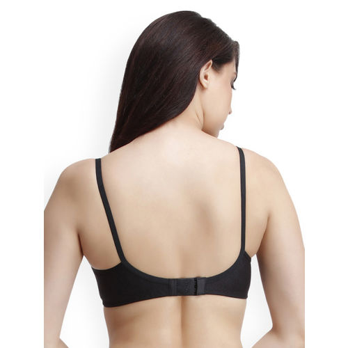 Clovia Black Solid Non-Wired Non Padded Everyday Bra BR0845R13